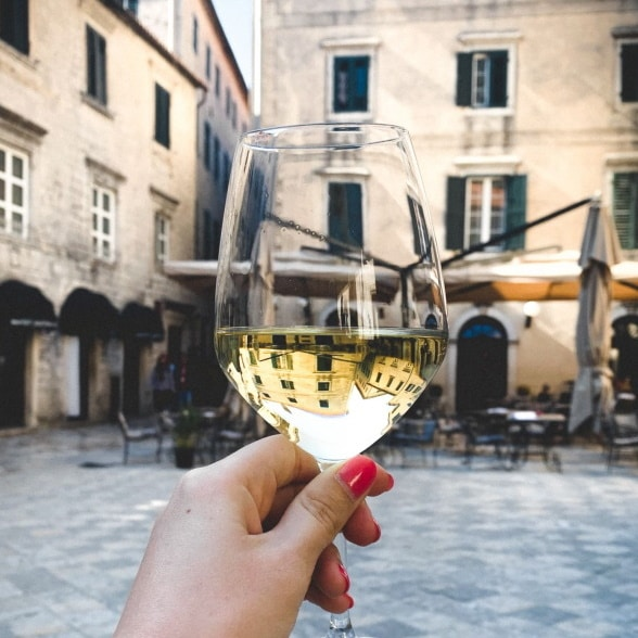 Old town Kotor square wine
